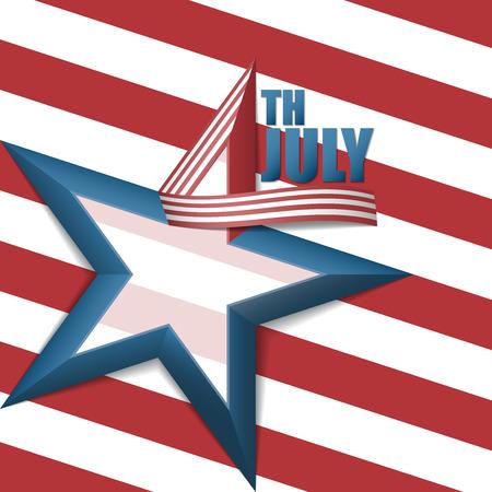 ブルースター 5 点と 3 次元数 4 設計で、アメリカの独立記念日の 7 月背景の第 4 回、白と赤のストライプのリボンします。  イラスト・ベクター素材