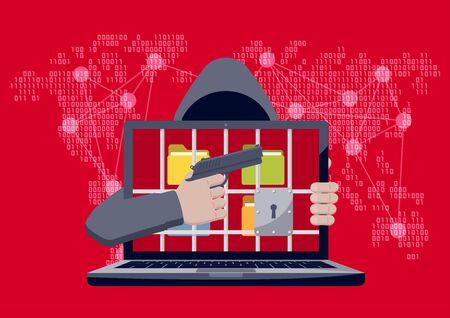 赤のバイナリ コード マップの背景にランサムウェア人質として刑務所バーの後ろにフォルダーのロックされたラップトップで銃を指してフード付き  イラスト・ベクター素材