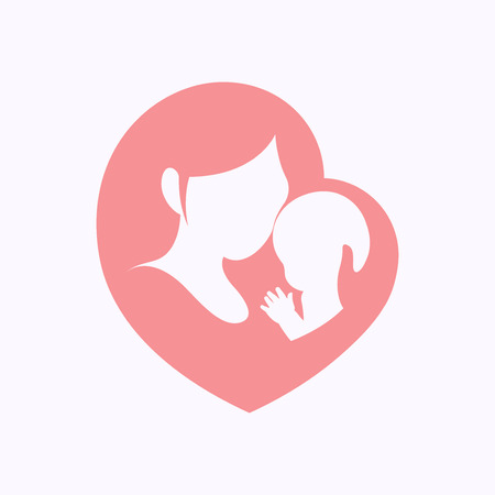 Mother holding a little baby with her arm in pink heart shaped silhouette