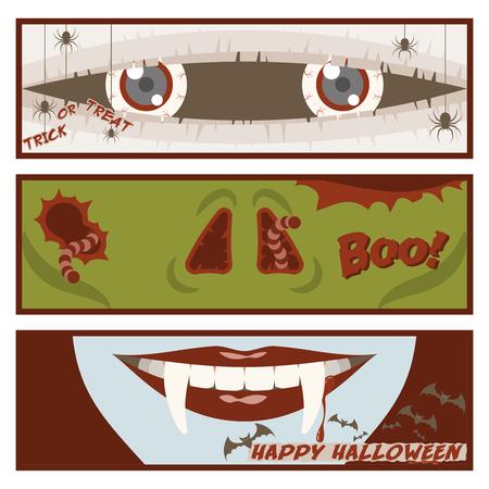 ミイラの目、鼻のゾンビ、吸血鬼、クモ、ワーム、飛んでいるコウモリの口漫画スタイルのハロウィーンのバナー設定