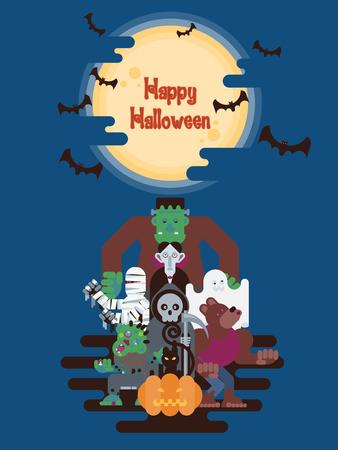 簡単な漫画のスタイルでコウモリと夜輝く月と雲の下でハロウィン文字グループ立って  イラスト・ベクター素材