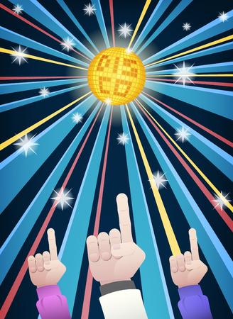 レトロな服をゴールドのミラーボールと漫画のスタイルのカラフルな光線下で指を指して男性グループ ダンスの手でディスコ パーティー