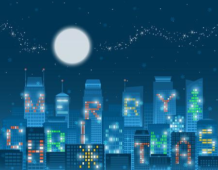 カラフルなクリスマス アルファベット輝く月、輝く天の川と星の下の落下の雪フレークと夜の街でグループ化高層ビルに点灯します