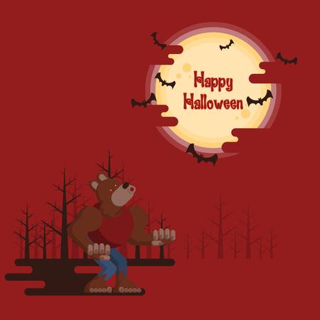 ハッピーハロウィン、夜に輝く満月と赤の背景に暗い影を持つ空飛ぶバットの下で森林のハウリング狼。