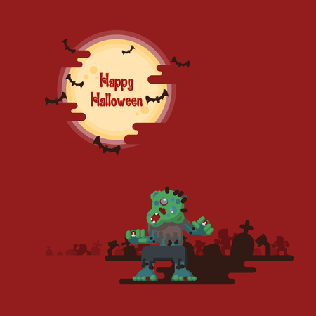 Happy Halloween, zombies walking and rising out from the ground at night in a graveyard under glowing full moon and flying bats with dark shadow on red background.
