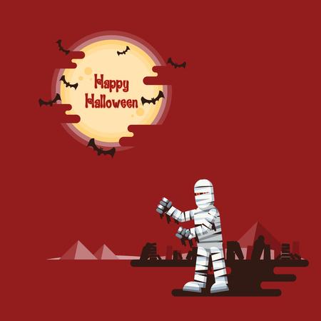 ハッピーハロウィン、ミイラの棺、残骸と輝く満月の下のピラミッド砂漠と暗い影を飛んでいるコウモリの赤の背景に夜歩きます。