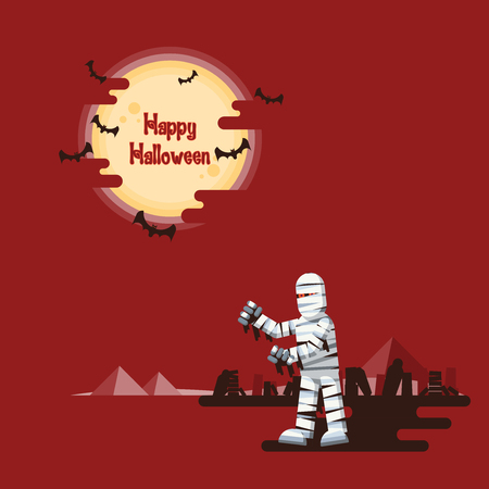 Happy Halloween, mummy walking at night in a desert with coffins, wreckage and pyramids under glowing full moon and flying bats with dark shadow on red background. Ilustracja