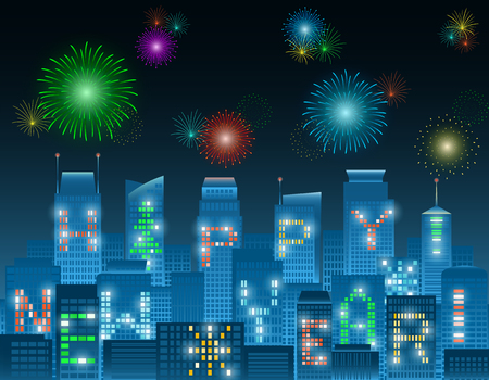 Colorful Happy New Year alphabets on illuminated windows of high rise buildings grouping in a night city with colorful fireworks in various patterns
