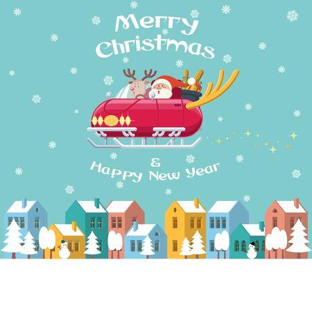 サンタとルドルフの赤い鼻のトナカイがカラフルな建物、木、雪だるまと雪と冬の町の上を飛んでの鹿の角を持つ光沢のあるそり車を運転します。  イラスト・ベクター素材