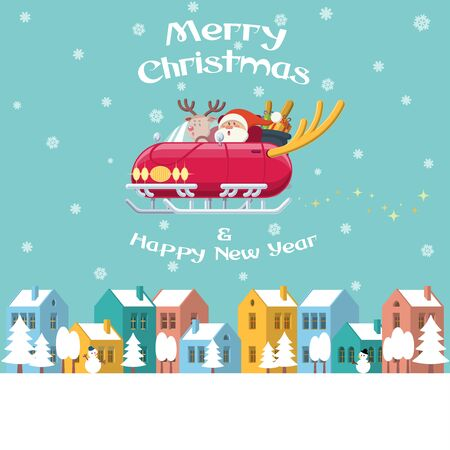 Santa Claus and Rudolph the red nose reindeer driving a shiny sleigh car with deer horns flying over a winter town with colorful buildings, trees, snowman and snow. Merry Christmas and Happy New Year celebration.