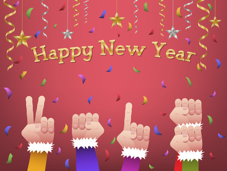 Five hands forming number 2018 in colorful suits to celebrate Happy New Year with hanging gold, silver ribbon, stars and colorful confetti on red background Ilustracja