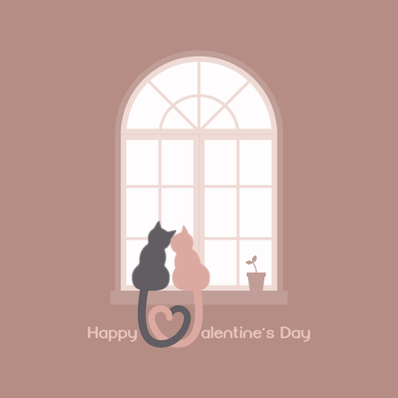 Two cats with heart shaped tails sitting on a windowsill in a room, cuddling each other and looking out a classic arched window in the daytime with plant pot, celebrate Valentines day in tone of pink