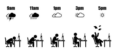オフィスデスクに座る黒いスティックフィギュアで午前9時から午後5時までの抽象的な労働時間のライフサイクルと白い背景に天気アイコンスタイル  イラスト・ベクター素材