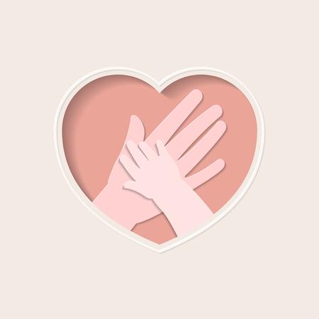 小さな手を握る大きな手は、ピンクのハート形のフレーム紙アートグリーティングカードで、母と赤ちゃんを表します  イラスト・ベクター素材