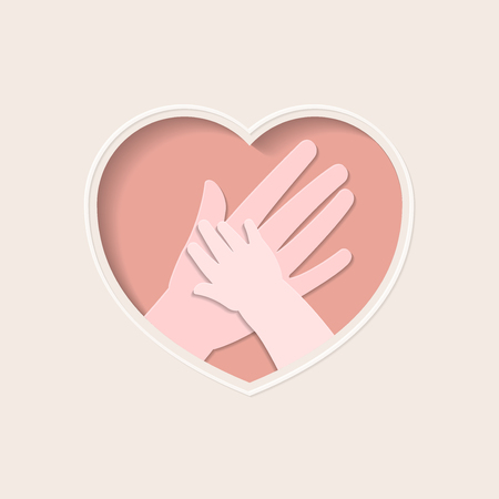 Big hand holding small one represent mother and baby, in pink heart shaped frame paper art greeting card Ilustracja