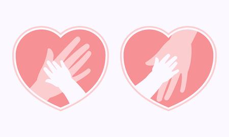 ハート型のシンボルとフレームアイコン、ロゴ、看板、シンボルの中に赤ちゃんの小さな手を持つ母親の大きな手  イラスト・ベクター素材
