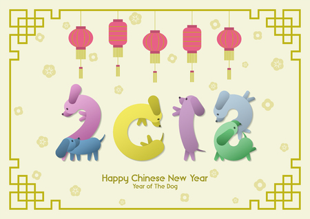 Happy Chinese New Year, Year of the Dog, colorful funny sausage Dachshund dogs group pose like number 2018 with hanging red lanterns, gold Asian flower pattern and traditional Chinese frame.