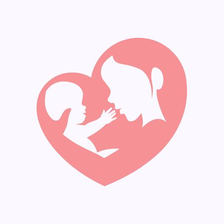 ハート型のシルエットで腕に座っている小さな赤ちゃんを抱く母、ハッピーマザーズデーのお祝いのためのアイコンデザイン。