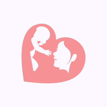 Smiling mother playing with a little baby by raising him up in the air, in heart shaped silhouette, logo, icon design for happy mothers day celebration
