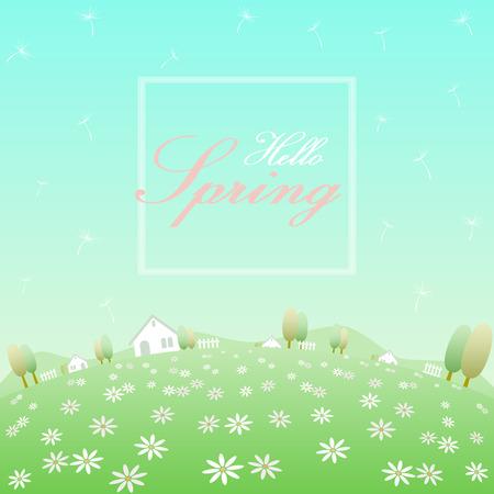 丸みを帯びた花畑、白い家、フェンス、木、丘、吹くタンポポと澄んだ青い空の背景を持つ白いフレームのバナーでこんにちは春のテキスト  イラスト・ベクター素材