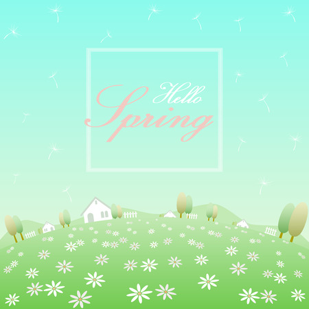 Hello spring text in white frame banner with background of rounded flowers field, white houses, fences, trees, hills, blowing dandelion and clear blue sky Ilustracja