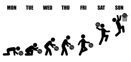 Abstract weekly life cycle evolution from Monday to Sunday concept with black stick figure playing basketball.