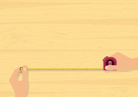Hands measuring with tape measure on wood background for building, construction, repairing, renovation, engineering and DIY concept  Ilustracja
