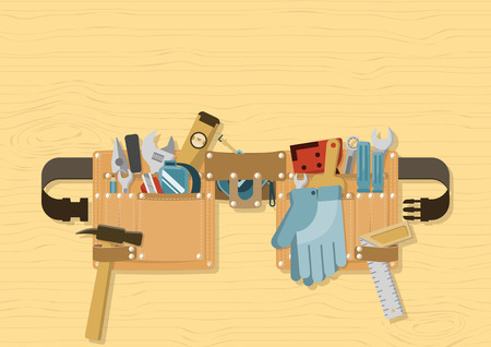 Tools in tool belt with side release buckle strap on wood background, for construction, repair and DIY concept  イラスト・ベクター素材
