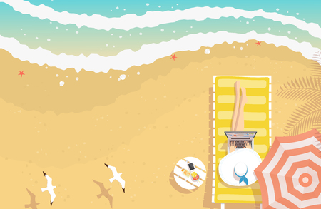 Woman with beach hat working on laptop, sitting on sun lounger on the beach with textured sand, curving sea waves, starfishes, shells and flying seagulls, from top view