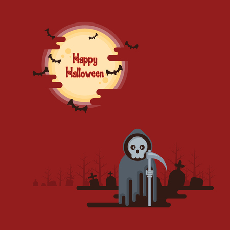 Happy Halloween, grim reaper standing with scythe at night in a graveyard under glowing full moon and flying bats with dark shadow on red background in cartoon style Ilustracja