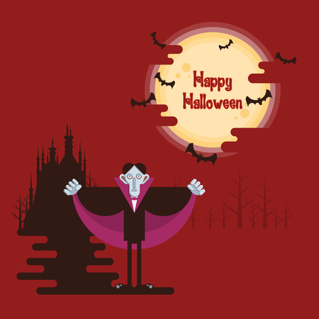 Happy Halloween, vampire standing at night in a forest under glowing full moon and flying bats with dark castle and shadow on red background in cartoon style