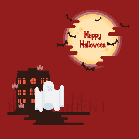 Happy Halloween, ghosts flying in front of haunted house under glowing full moon and bats on red background in cartoon style  イラスト・ベクター素材
