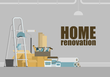 Grey room with stepladder, toolbox, construction materials, hanging pipe and lamp, for home renovation concept
