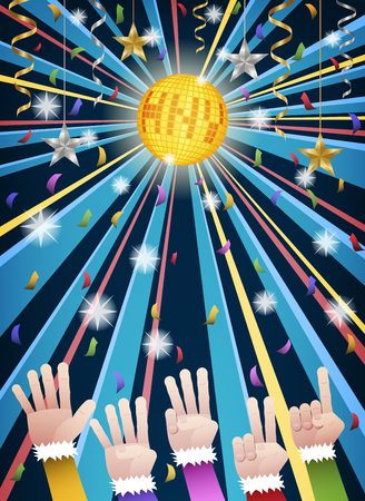 Happy new year countdown disco party with hands in colorful suits counting number from five to one, under gold HNY mirror ball, hanging gold, silver ribbons, stars and colorful confetti Ilustracja