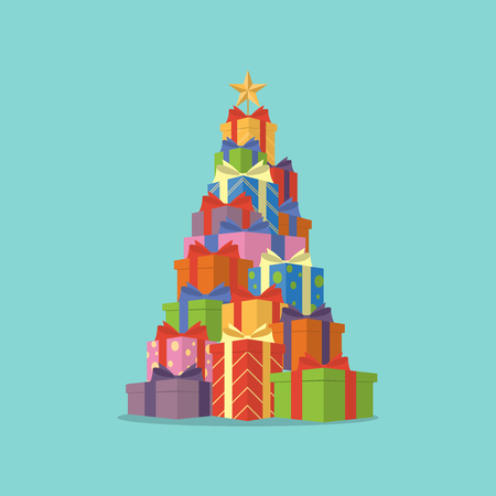 Pile of colorful gift boxes in shape of Christmas tree with star in perspective view