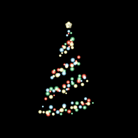 Colorful bokeh light in shape of Christmas tree on black background  イラスト・ベクター素材