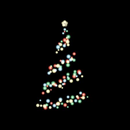 Colorful bokeh light in shape of Christmas tree on black background Ilustracja