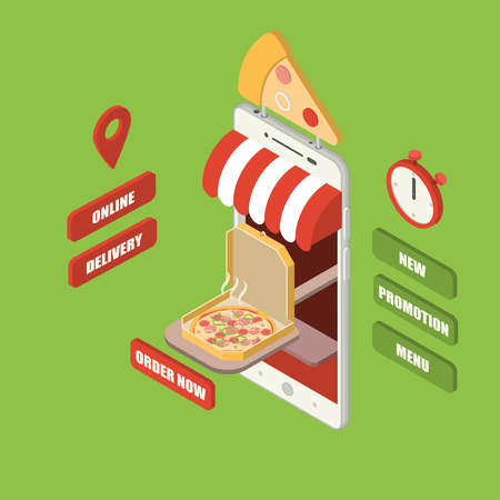 Online pizza order and delivery concept, giant isometric smartphone with pizza in a box serving on wooden paddle, shop, counter, sign, stopwatch and buttons