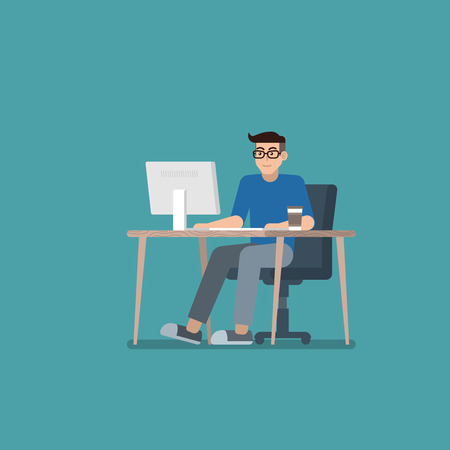 Young man with glasses in casual clothes working on desktop computer at desk in flat style