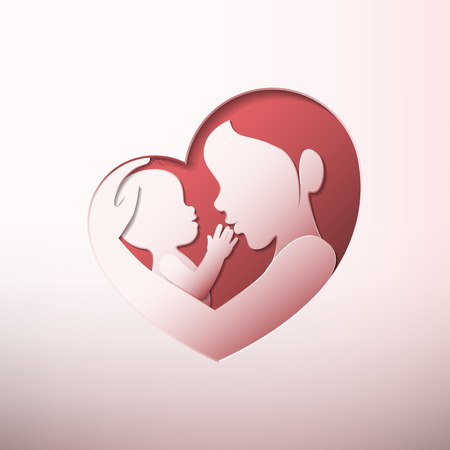 Mother holding a baby with her arm in heart shaped silhouette in paper art style Ilustracja