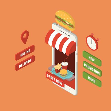 Concepto de pedido y entrega de comida rápida en línea, teléfono inteligente isométrico gigante con hamburguesa, papas fritas y bebida fría en bandeja, tienda, mostrador, letrero grande, cronómetro y botones