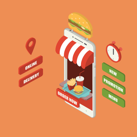 Online fast food order and delivery concept, giant isometric smartphone with burger, french fries and cold drink serving on tray, shop, counter, big sign, stopwatch and buttons
