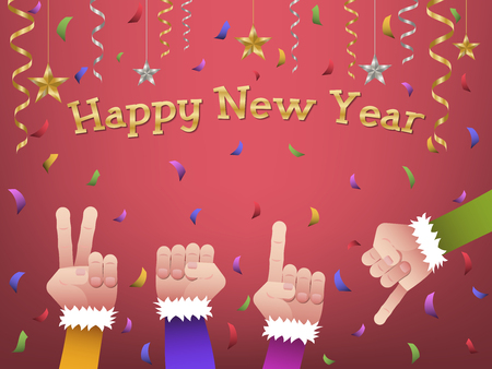 Four hands forming number 2019 in colorful suits to celebrate Happy New Year with hanging gold, silver ribbon, stars and colorful confetti on red background
