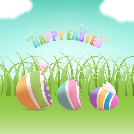 Colorful Easter egg with bunny inside cracked eggs with butterflies in green grass field and blue sky with clouds