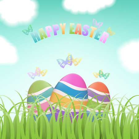 Colorful Easter eggs hiding in green grass field with flying butterflies, blue sky and clouds