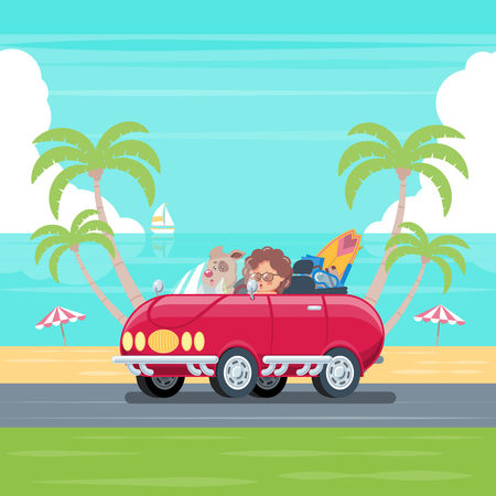 Boy and dog driving convertible car with surfboard and luggage cruising on a road along the beach with blue sky, sea, cloud, coconut trees, umbrellas, and sailboat in flat cartoon style