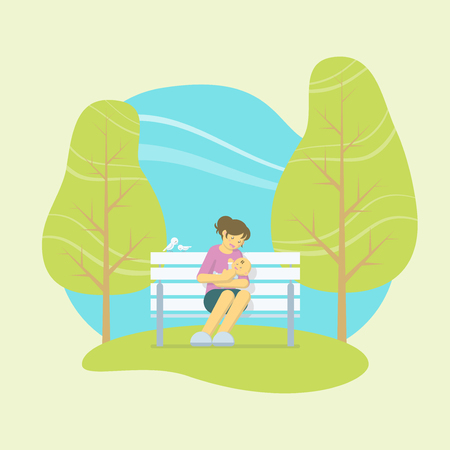 Mother playing with a baby in her arms while sitting on a white bench in a park with birds and trees in flat style