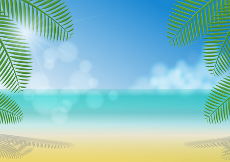 Sunny day under coconut trees shade on the beach, sea, clouds and clear blue sky background Zdjęcie Seryjne - 128630164