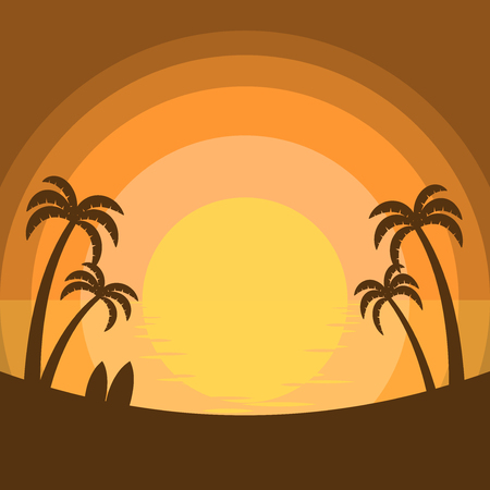 Simplified summer sunset at the sea with silhouette of coconut trees and surfboards on the beach
