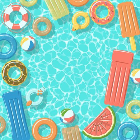 Swimming pool from top view with colorful inflatable rubber rings, rafts, beach ball and life buoy Illustration
